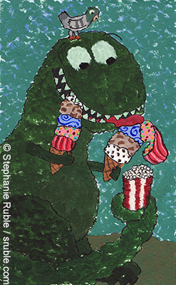 dinosaur eating ice cream with both hands (one cone is falling apart), also holding popcorn in its tail and has a pigeon on its head