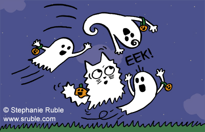 image: ghost cat surrounded by three regular ghosts.