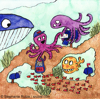 octopus delivering mail to another octopus, while a whale looks on, a school of fish swims by, and a big fish waits for mail