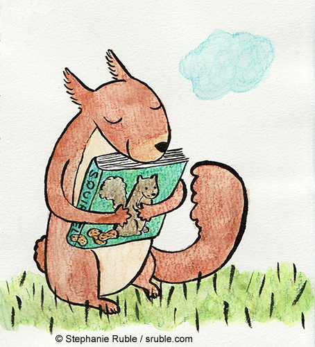 red squirrel hugging a book about squirrels