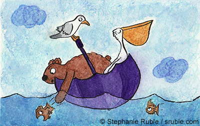 bear and pelican in an umbrella boat with a seagull perched on the handle. the fish are wary.
