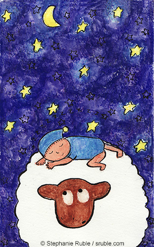 baby in blue onsie and sleeping cap sleeps on sheep under the stars