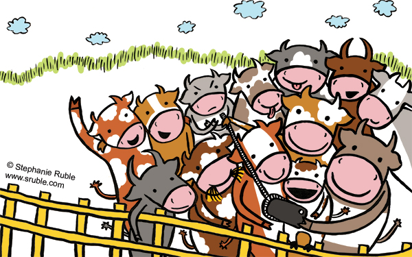 group of cows posing and taking a selfie (cows of different colors: brown, orange, yellow, and grey, and cows with different patterns: stripes, spots, and solids), with grass and clouds in the background and a yellow fence in front of them