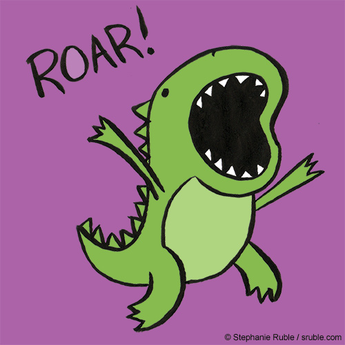 small green dino roaring and jumping with a purple background and the word ROAR
