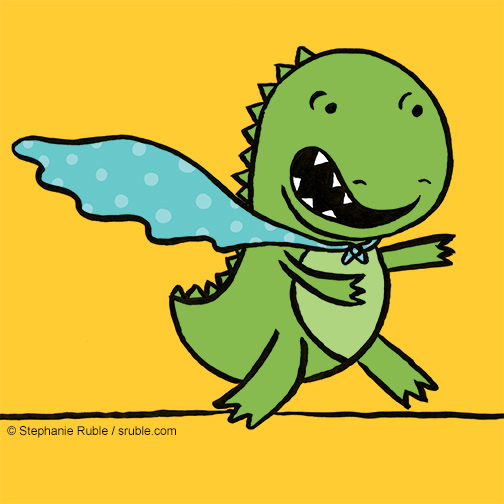 small dinosaur with aqua spotted cape on a yellow background